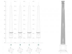 Model 3D i seccions d'una xemeneia