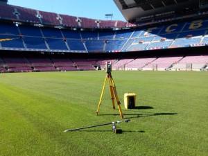 Marcatge del terreny de joc del Camp Nou