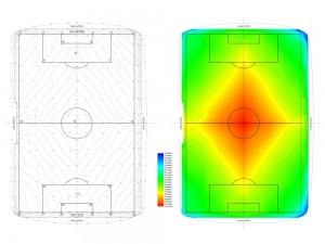 Terreny de joc del Camp Nou amb tintes hipsomètriques